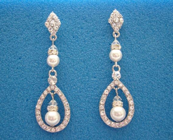 Chandelier Earrings, Swarovski Pearl, Rhinestone, Crystal, Bridal/Bridesmaids (E3062)