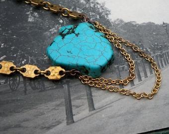 turquoise jewelry / turquoise necklace / handmade jewelry / TURQUOISE & HEXAGON