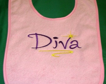 Embroidered Baby Bib (Diva)