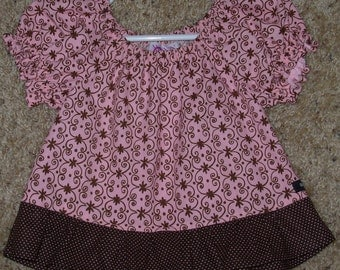 Peasant blouse pink and brown size 12-18 months