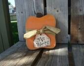 Primitive wood pumpkin (small) - country fall autumn halloween wood block gift thanksgiving
