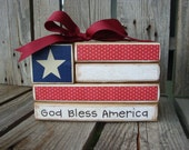 Americana Flag BlockWood Set independence summer flag military 4th of July America primitive country personalized