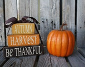 Primitive Autumn harvest be thankful  STACKER Wood block set  . . . fall autumn pumpkin home seasonal decor