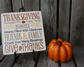 Thanksgiving Fall Autumn Primitive wood sign give thanks gift sign wood block country . . .Hang or set on on a table