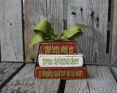 Christmas Decor BlocksThe best way to spread Christmas Cheer Buddy the Elf Wood Block Set Seasonal Home Decor Gift  Bitty