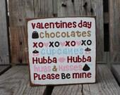 Valentines Love Wood sign heart hugs kisses home seasonal personal primitive shabby chic home decor