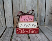 Valentines day decor . . . Love and XOXOXO . . . Valentine's Wood Block Stacker Gift Home Seasonal Personalized Block Decor