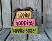 Easter Wood Block Stacker spring holiday seasonal home decor easter egg bunny gift personalized family