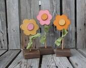 FLOWERS Spring Easter Summer Wood Block Set seasonal spring easter gift personalized primitive block photography prop