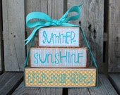 Summer Stacker Wood Block Set home seasonal decor summer 4th of July flip flop lemonade watermelon primitive country personalized