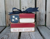 Americana Flag Block Wood Set independence summer flag military 4th of July America primitive country personalized
