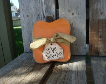 Primitive wood pumpkin (small) - country fall autumn halloween wood block gift thanksgiving