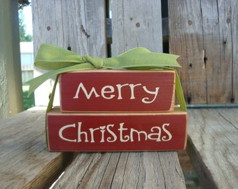 Merry Christmas primitive wood  Bitty BLock Set . . . . Christmas Winter Gift Primitive Wood Block Sign