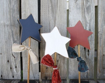 American Star Wood Block Set Independence Day Red White Blue Military Americana 4th of July Seasonal Decor Gift Summer