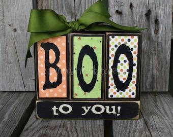 BOO Wood BLock Set  fall trick or treat autumn halloween candy corn primitive home seasonal decor handmade gift