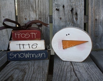 FrOsTy tHe SnOwMaN. . . christmas winter snowflake snowman wood block set gift home seasonal decor