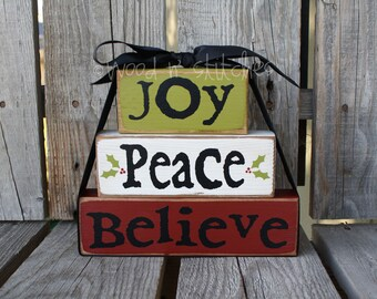 Christmas Decor block set JOY PEACE BELIEVE  personalized wood block set sign primitive gift