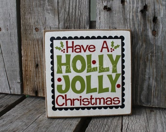 Christmas HOLLY JOLLY CHRISTMAS Bitty  Primitive Wood Sign winter seasonal home decor wood block gift centerpiece