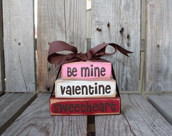 Valentines LOVE  Be Mine Sweetheart Wood Mini Stacker Block Set heart hugs kisses home seasonal personal primitive shabby chic home decor
