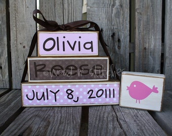 Personalized Name Stacker Baby boy girl birth family blocks wood custom nursery gift shower wedding . . . great gift or for yourself