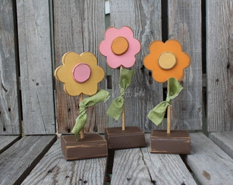FLOWERS Spring Easter Summer Wood Block Set seasonal spring easter gift personalized primitive block photography prop