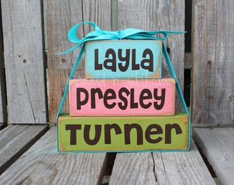 Personalized Name Wood Stacker block set wedding family nursery baby child kids room birthday gift home decor primitive block set