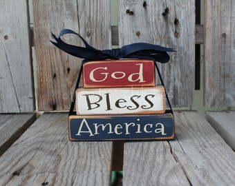 God Bless America Wood mini wood block  set stacker independence summer flag military 4th of July America primitive country personalized