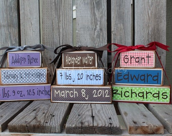 Personalized Name kids baby girl boy birth announcement Wood Stacking block set wedding family nursery kids room  gift