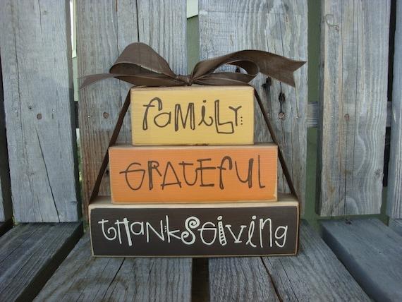 NEW . . . FAMILY . . . GRATEFUL . . . THANKSGIVING  STACKER  . . . WOOD BLOCK SET