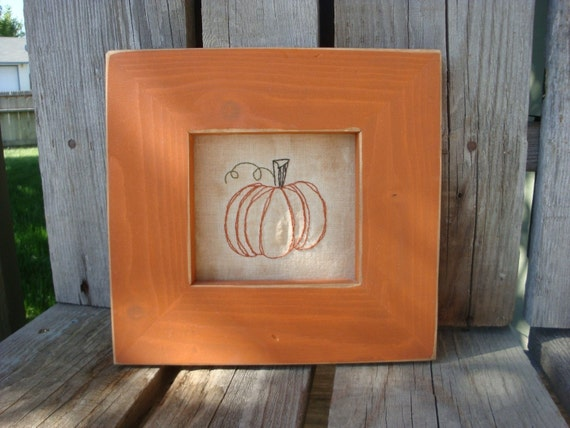Primitive Pumpkin Framed Stitchery . . . fall autumn pumpkin stitchery halloween thanksgiving handmade  frame country