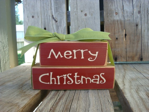Items Similar To Merry Christmas Primitive Wood Bitty