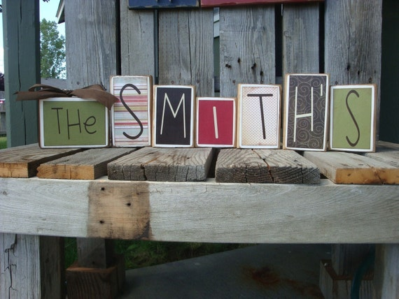 Check out the pictures and all the options  . . . Personalized Last Name Blocks - these are great birthday, wedding, thank you and just because gifts - see description for details