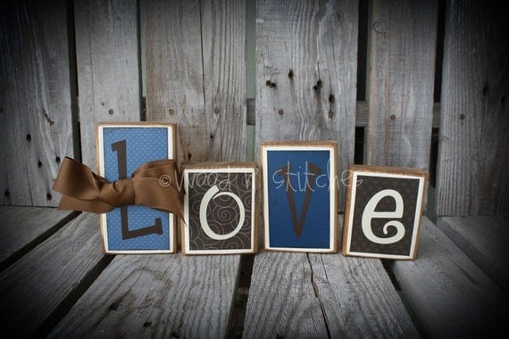 4 piece Personalized Wood Block Set . . . great for wedding home decor primitive gift name personalized wood sign boy girl baby family