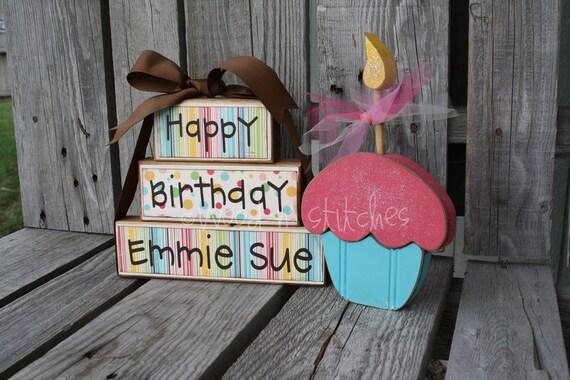 Personalized Birthday Wood Blocks Happy Birthday Stacker