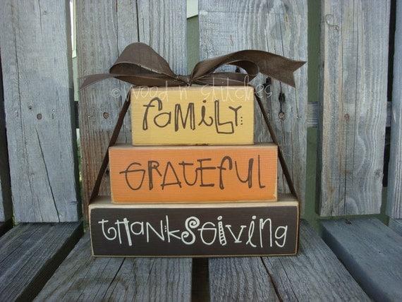 "Fall Autumn Thanksgiving  ""Family Grateful Thanksgiving"" Stacker Wood Block Set Primitive Fall Autumn Thanksgiving Gift Country Wood Sign"