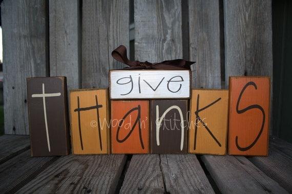 Primitive Give Thanks Wood Block Set . . . thanksgiving fall autumn primitive country wood block set