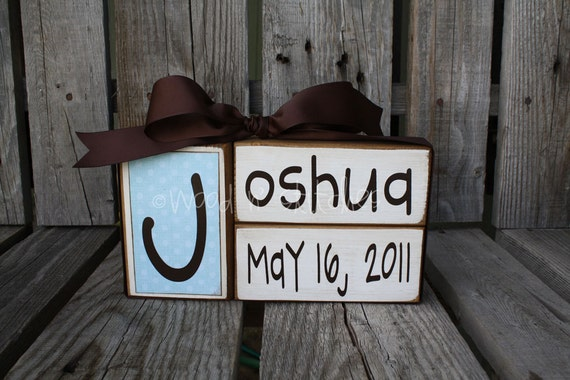 Baby boy girl family primitive name blocks wood custom nursery gift shower wedding gift birth announcement sign