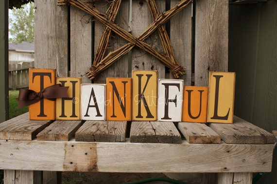 Fall Autumn Thanksgiving THANKFUL Wood Block Set