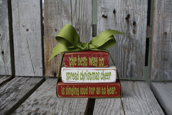 Christmas Decor BlocksThe best way to spread Christmas Cheer Buddy the Elf Wood Block Set Seasonal Home Decor Gift  Bitty