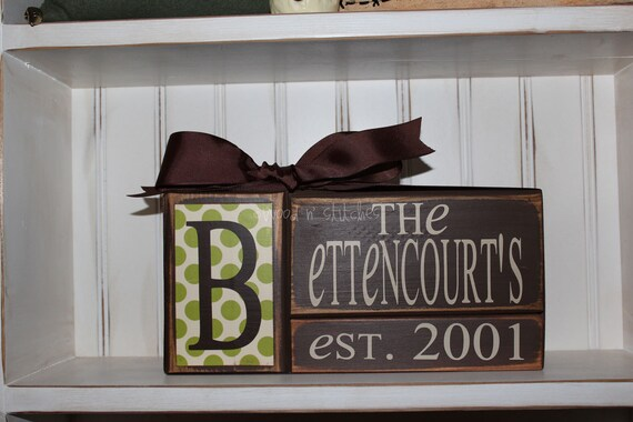 Personalized Established Name Family Block Set sign wood block set christmas wedding anniverysary birthday gift