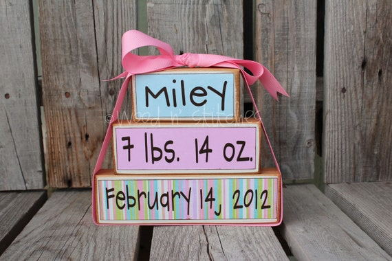 Personalized Name Date kids baby girl boy birth announcement Wood Stacker block set wedding family nursery y kids room  gift
