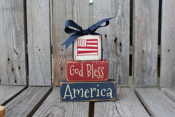 God Bless America Wood Chunky stacker independence summer flag military 4th of July America primitive country personalized