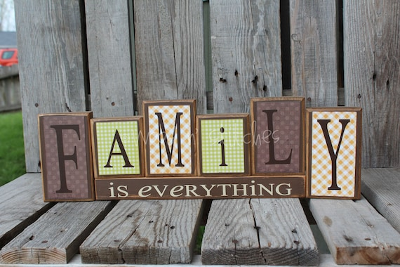 Items Similar To Family Is Everything Home Wood Block Set