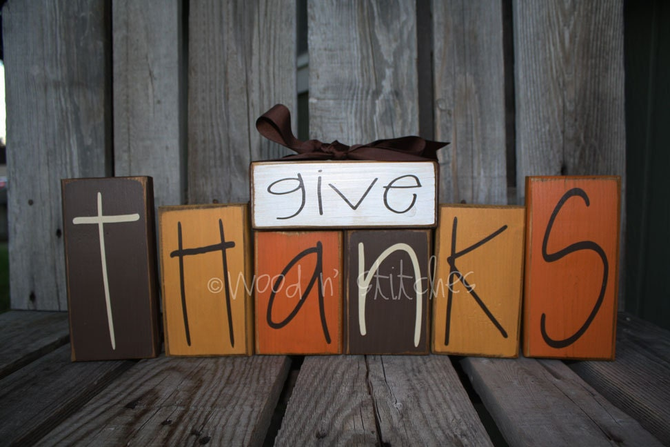 Primitive Give Thanks Wood Block Set . . . Thanksgiving Fall
