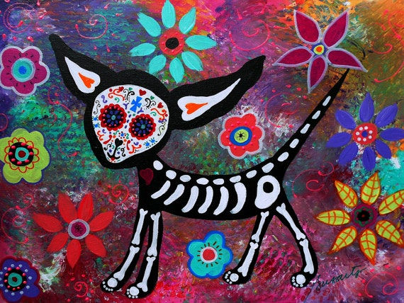 Mexican Day of the Dead  Folk Art Chihuahua Skulls Sugar Painting PRINT