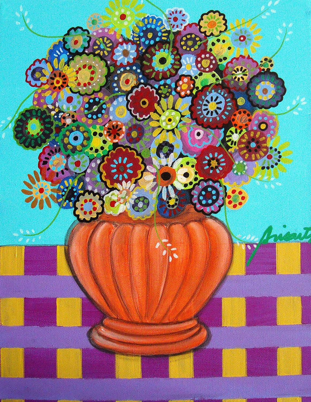 Mexican Town Flower Tree Barn Houses Folk Art Painting PRINT