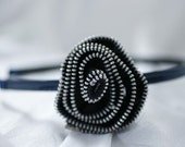 black zipper flower headband