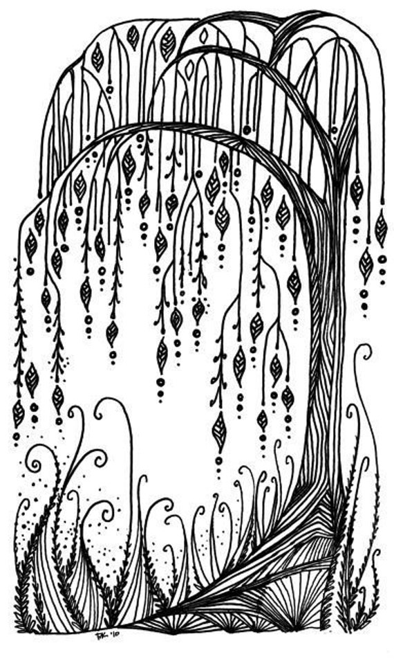 Weeping Willow Tree Black And White Tattoo Willow Tree print