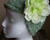 Green Chenille Chemo Knit Hat