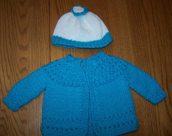 Flower Top Newborn Sweater and Hat Set